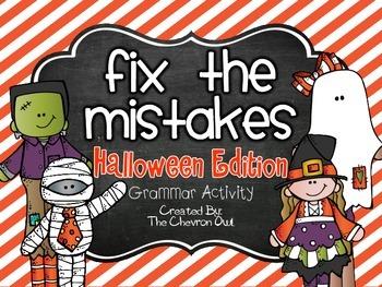 Fix the Mistakes Halloween Edition Grammar Activity