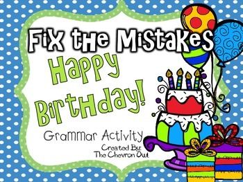 Fix the Mistakes Happy Birthday! Grammar Activity
