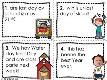 Fix the Mistakes Last Day of School Grammar Activity