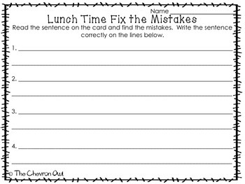 Fix the Mistakes Lunch Time Grammar Activity