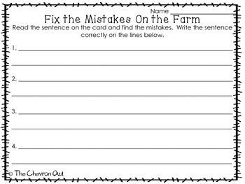 Fix the Mistakes On the Farm Grammar Activity