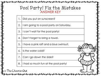 Fix the Mistakes Pool Party Grammar Activity