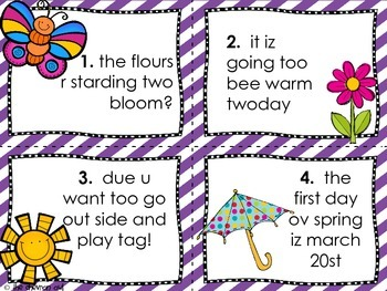 Fix the Mistakes Spring Time Edition Grammar Activity