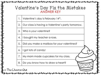 Fix the Mistakes Valentine's Day Edition Grammar Activity