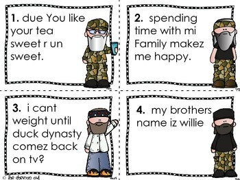 Fix the Mistakes With the Robertsons Duck Dynasty Grammar Activity