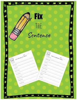 Fix the Sentence CVC words