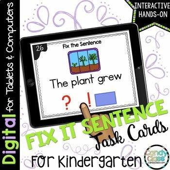 Fix the Sentence Digital Task Cards for Google™ Use - Geared for Kindergarten