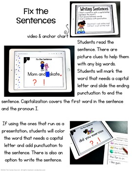 Fix the Sentence in Kindergarten Digital Task Cards - Paperless