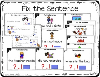 Fix the Sentence Digital Task Cards for PowerPoint Use - Geared for Kindergarten