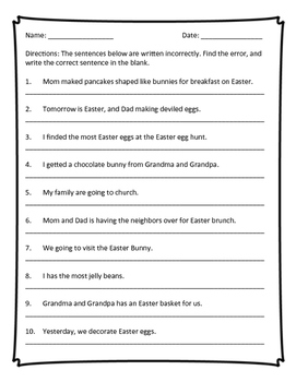 Fix the Sentence: Easter