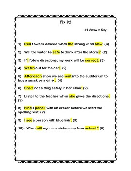 Sentence Editing with Answer Key