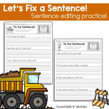 Let's Fix a Sentence/Sentence Editing Practice