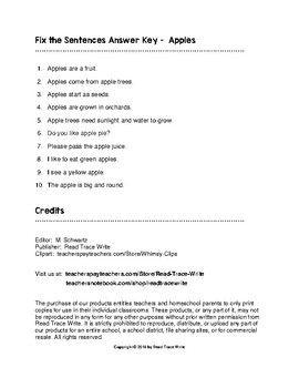 Fix the Sentences Apples Worksheets