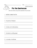 Fix the Sentences Camping Theme Worksheets
