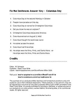 Fix the Sentences Columbus Day Worksheets