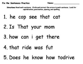 Fix the Sentences {FREEBIE}