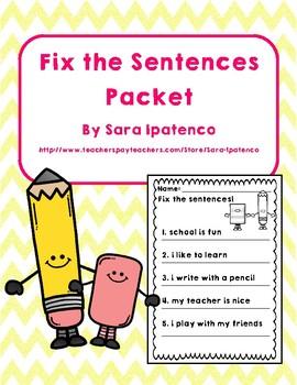 Fix the Sentences Handwriting Packet