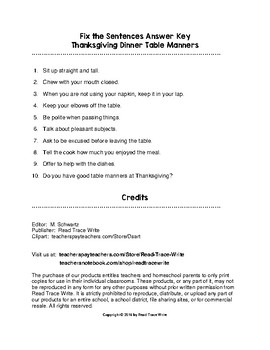 Fix the Sentences Thanksgiving Dinner Table Manners Worksheets