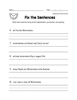 Fix the Sentences Watermelon Worksheets