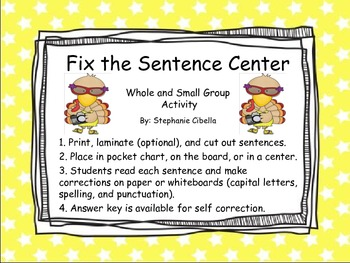 Fix the Sentences (capitialization, spelling, punctuation) Reading Street 1.5