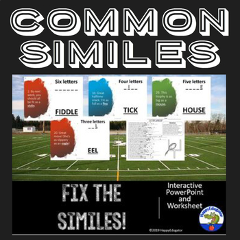Scrambled Similes Interactive PowerPoint and Worksheet - Football Theme