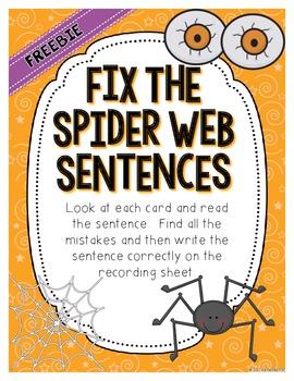 Fix the Spider Web Sentences - Creepy ELA Center FREEBIE