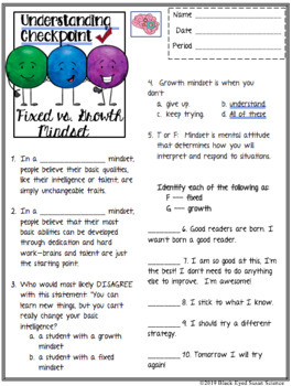 Fixed Mindset vs Growth Mindset Squiggle Sheets &Understanding Checkpoint (Quiz)