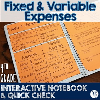 Fixed & Variable Expenses Interactive Notebook Activity & Quick Check TEKS 4.10A