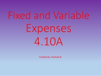 Fixed and Variable Expenses 4.10A
