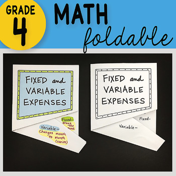 Math Doodle - Fixed and Variable Expenses ~ INB Foldable Notes ~