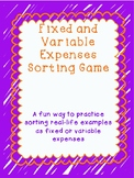 Fixed and Variable Expenses Sort - TEKS 4.10a