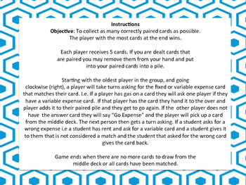 Fixed and Variable Expenses Go Fish Game - easier version TEKS 4.10A