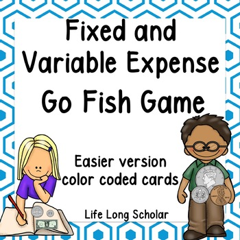 Fixed and Variable Expenses Go Fish Game - easier version