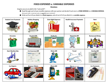 Fixed v. Variable Expenses Practice Sheet