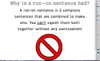 Fixing Run-On Sentences Smart Notebook