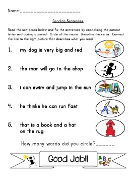 Fixing Sentences: Punctuation, Noun, Grammar, Comprehension in 1