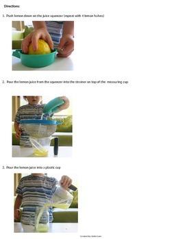Fizzing Lemonade - Visual Directions - Edible Sensory Science