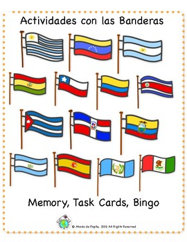 Flag Activity Pack Spanish Speaking Countries Task Cards, Memory Game & Bingo