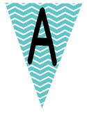 Flag Banners -  Teal Blue with Chevron Pattern