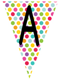 Flag Banners - Colorful Polka Dot Pattern Alphabets