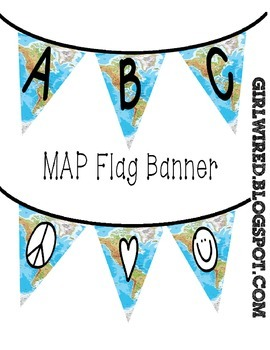 Flag Banners - Colorful USA / Mexico Map