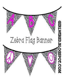 Flag Banners - Zebra Print with Pink Colored Font