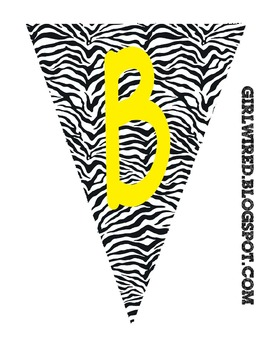Flag Banners - Zebra Print with Yellow Colored Font