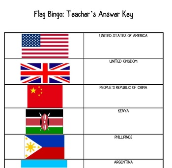 Pop Quiz Flag Bingo Geography Bingo Game- Substitute Teacher Tool