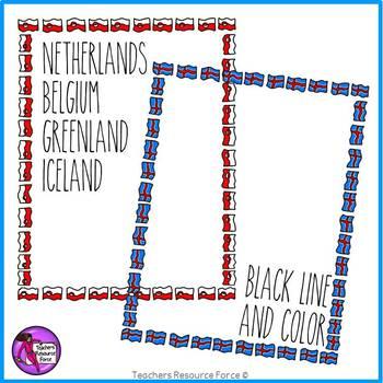 Flag Borders Clipart Doodle Style (Belgium, Iceland, Greenland, Netherlands)