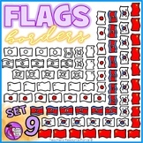 Flag Borders Clipart Doodle Style (China, Japan, North Korea, South Korea)