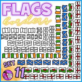 Flag Borders Clipart Doodle Style (England, Scotland, Wales, Ireland)