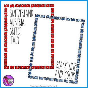 Flag Borders Clipart Doodle Style (Italy, Greece, Switzerland, Austria)