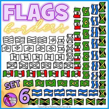 Flag Borders Clipart Doodle Style (Mexico, Brazil, Jamaica, Argentina)