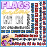 Flag Borders Clipart Doodle Style (Norway, Sweden, Finland, Denmark)